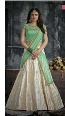 Mint Green Blouse With A Contrast Off White Lehenga